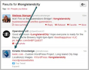 twitter hashtag #LongIslandCity | kinetic knowledge
